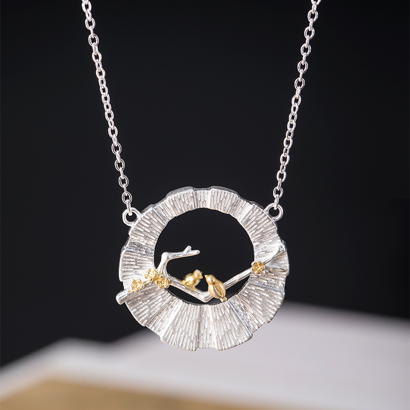 VLA 925 Silver Chinese Style Fashion Design Bird Branch Necklace Women's Personalized Hollow Round Pendant 1