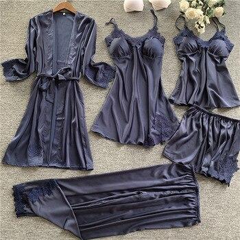 Lisacmvpnel 5 Pcs Set Women Pajamas Lace Sexy With Chest Pad Pajama Satin Soft Pyjamas - discount item  40% OFF Women's Sleep & Lounge
