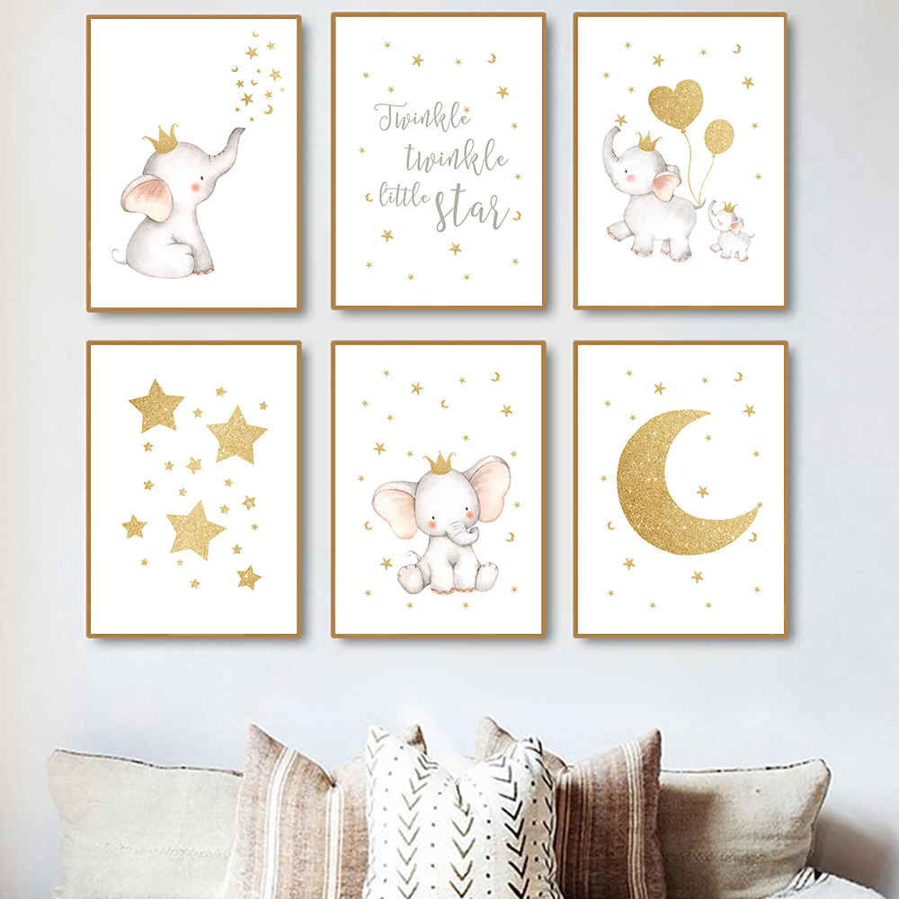 Nursery Wall Art Poster Cartoon Elephant Balloon Canvas Painting Star Moon Art Print Nordic Poster Wall Pictures For Kids Room