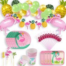 Hawaii Flamingo Party Supplies Disposable Tableware Plates Straws Flamingo Pineapple Balloon For Baby Shower Birthday Party 63D(China)