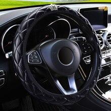 LEEPEE 37 38 سنتيمتر قطر بولي Leather الجلود الكريستال تاج توجيه يغطي اكسسوارات السيارات الداخلية غطاء عجلة القيادة سيارة التصميم