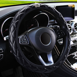 LEEPEE 37-38CM Diameter PU Leather Crystal Crown Steering Covers Car Interior Accessories Steering Wheel Cover Car-styling