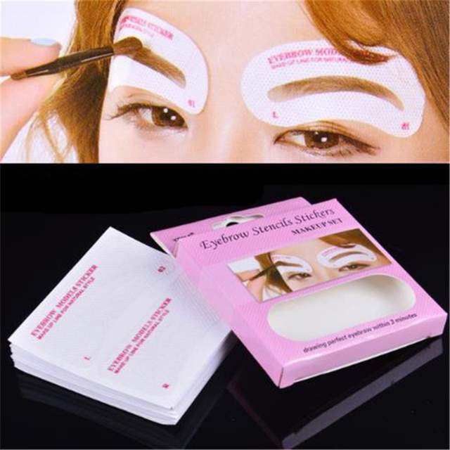 Eyebrow Stencil Set Non-Woven Cloth Stickers DIY Disposable Drawing Guide Grooming Shaper Template Card Eyebrow Makeup Tools