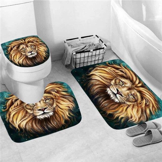 Tiger Duschvorhang Badematte Toilettendeckel Sockel Teppich Tier Bad Dekor