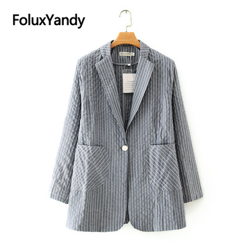 Fashion Women's Blazer Striped Jacket Autumn Spring Outerwear Single Button Blazer Long Sleeve Plus Size Coats KKFY4815 striped trim raglan sleeve jacket