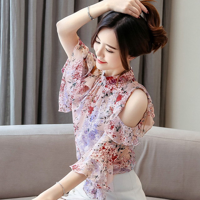 Korean Blouse Women Clothing Shirt Ladies Tops Floral Chiffon Ruffles Stand Butterfly Sleeve Blusas Hollow Female Tops Plus Szie 2
