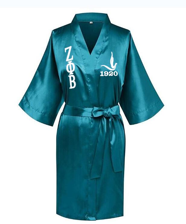 Image 2 - Custom Greek Letter Sorority White Blue Zeta PHI Beta Robe Sleepwear Silk Half Sleeve Nightwear For Women LadyRobes   -