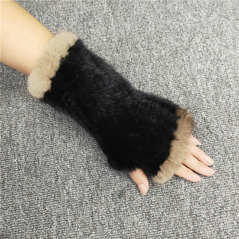 2019 Hot Sale Unisex Real Mink Fur Gloves Real Knitted Mink Fur Fingerless Gloves Winter Strong Elastic Real Mink Fur Gloves