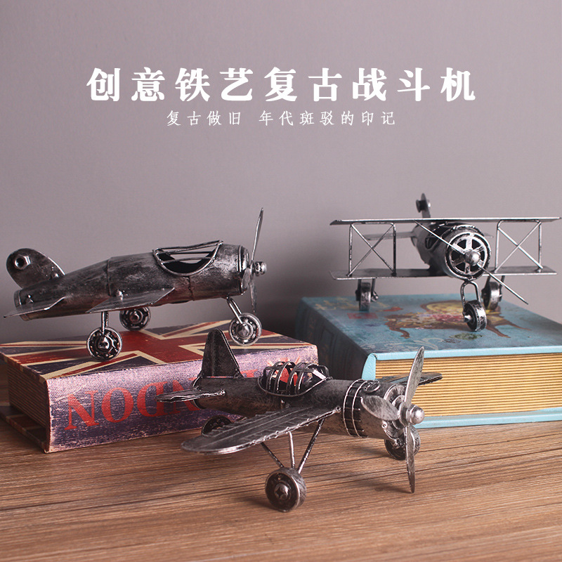 Vintage Tin Aircraft Model WorldWar I Curtis Jenny Flat Plane Fighter Antique Military Airplane Model Toys for Children Adults image