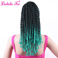 16inch Curly Drawstring Ponytail Wig Ombre t1b/mint SyntheticHairpiece For Women Fake HairClip in Wrap Around Pony Tail