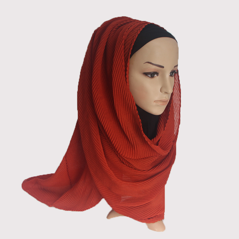 1 PC Popular Large Size TR Cotton Scarf Pleated Crinkle Women s Hijab Muslim Head Wrap