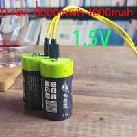 ZNTER-batería recargable de polímero de litio, 4000MAH, tamaño D, 1,5 V, 1,5 V, cable USB, célula para horno a gas