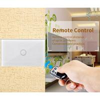 Wireless Remote Control Touch Switch US Standard 1 Gang Wall Light Controller Touch Switch Control for Home Smart Sensor Switch