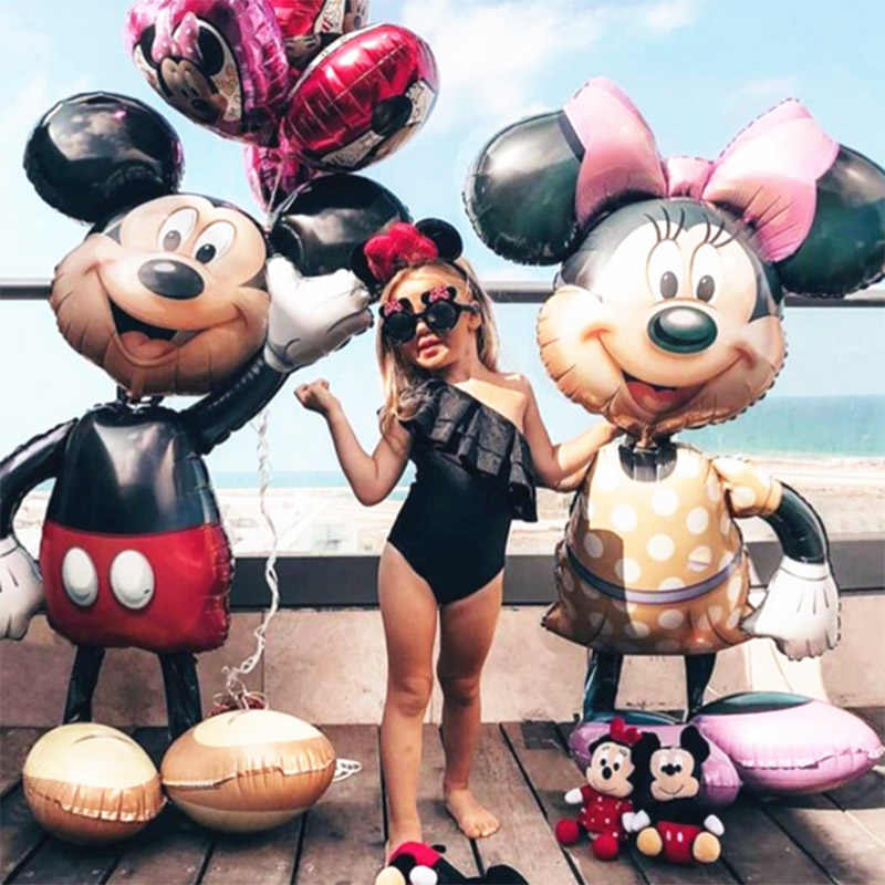 112 Cm Giant Mickey Minnie Mouse Foil Balon Kartun Pesta Ulang Tahun Balon Baby Shower Pesta Baloon Mainan Dekorasi
