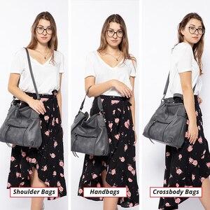 Image 2 - REALER kadın omuzdan askili çanta büyük hobos tote çanta çapraz postacı çantası kadınlar için 2019 lüks çanta PU deri gri el çantası
