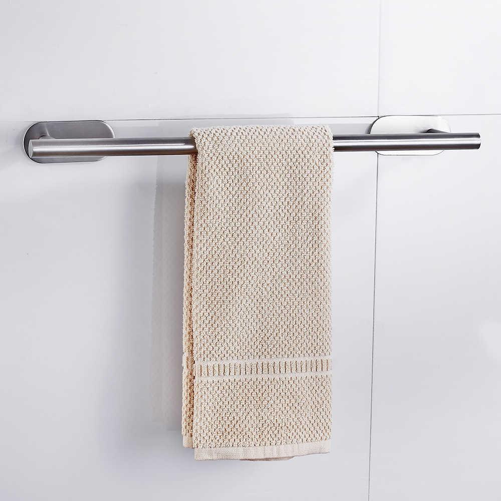 ผ้าเช็ดตัวห้องน้ำชั้นวางของสแตนเลสติดผนังแขวนSelf-Adhesive HomeโรงแรมOrganizer Rackแขวนอุปกรณ์Rod