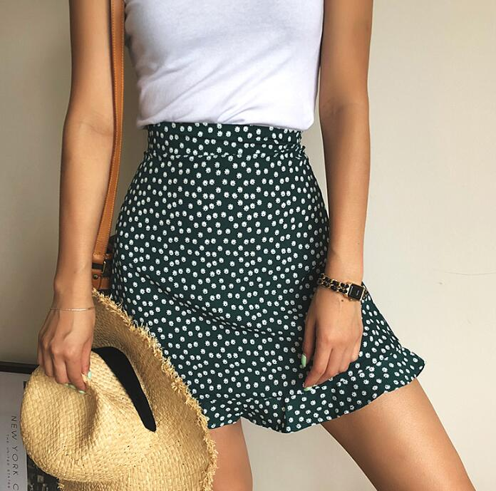 Women Dots Mini Skirt Green White Saia High Waistline Faldas Sexy Skirts 2020 Summer