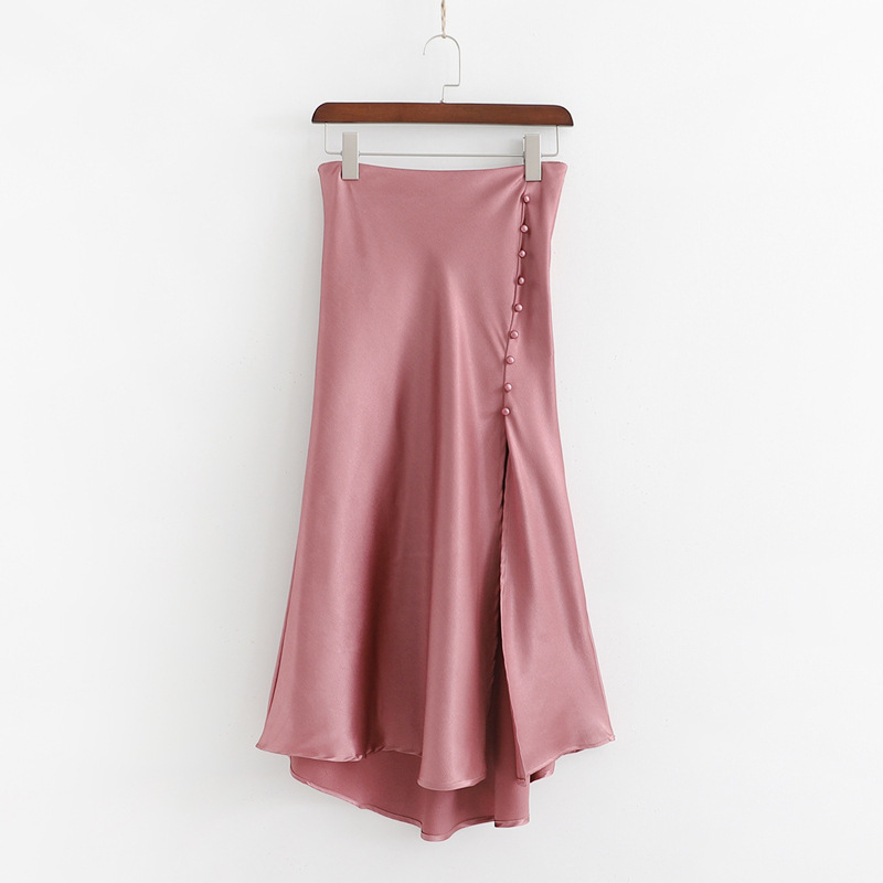 19xd6-2231 Western Style WOMEN'S Dress 2019 Summer New Style High-waisted Pearl Clasp Irregular Slit Satin Skirt