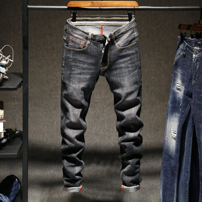 Skinny Jeans Men Drawstring Slim Fit Denim Fashion Casual Male Jeans Pants