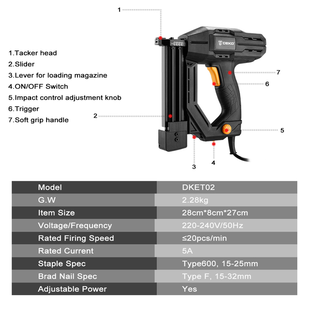 DEKO DKET02  Electric Tacker and Stapler Furniture Staple Gun for Frame with Staples & Woodworking Tool 6