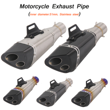 Motorcycle Exhaust Pipe Tip Stainless Steel Silencer System Link 51mm Universal