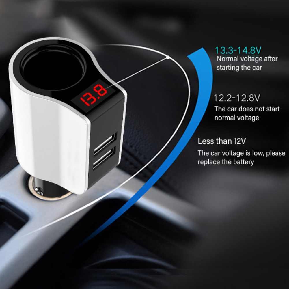 المحمولة سيارة المزدوج USB الجهد عرض المقبس سيارة صعبة مهايئ شاحن разветвитель прикуривателя