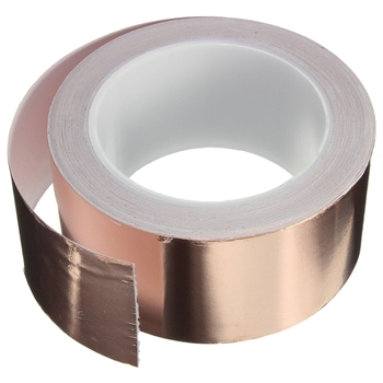 Copper Foil Tape - (50mm x 20m) - EMI Shielding Conductive Adhesive for Stained Glass,Paper Circuits,Electrical Repairs 25mm 20m single side adhesive silver conductive fabric cloth tape for pc phone lcd cable emi shielding keyboard repair