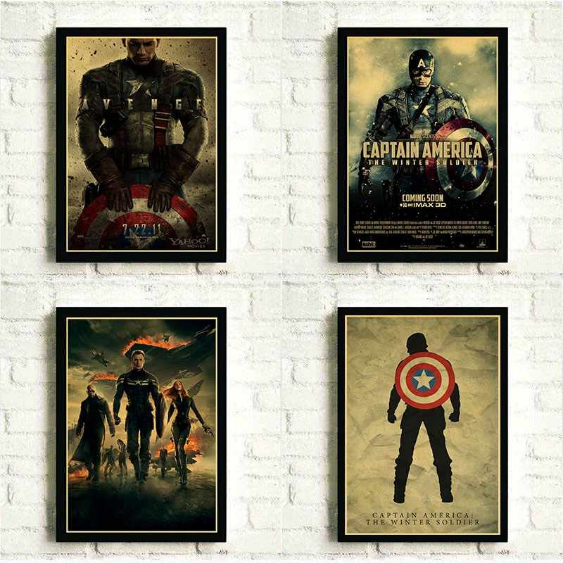 Marvel Comics The Avengers Movie Poster Captain America Wall Decor Painting Vintage Poster Prints for Bar Cafe Home Decor, Gift
