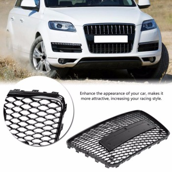 For RSQ7 Style Front Sport Hex Mesh Honeycomb Hood Grill Black for Audi Q7 4L 2007-2015 Car-styling Accessories