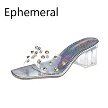 2019 New Arrivals Transparent Slides Open Toe Luxury Crystal Med Heel Square Clear Slippers For Women High Shoes Summer 46