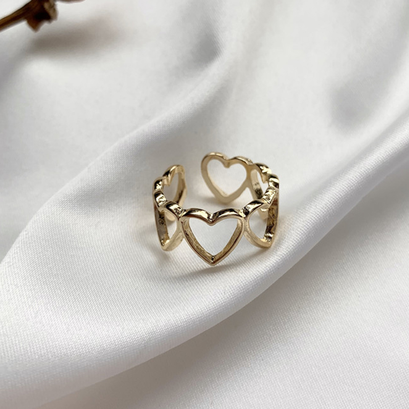Fashion Simple Hollow Out Heart-shaped Opening Ring Creative Elegant Women's Wedding Party Jewelry Romantic Valentine's Gift