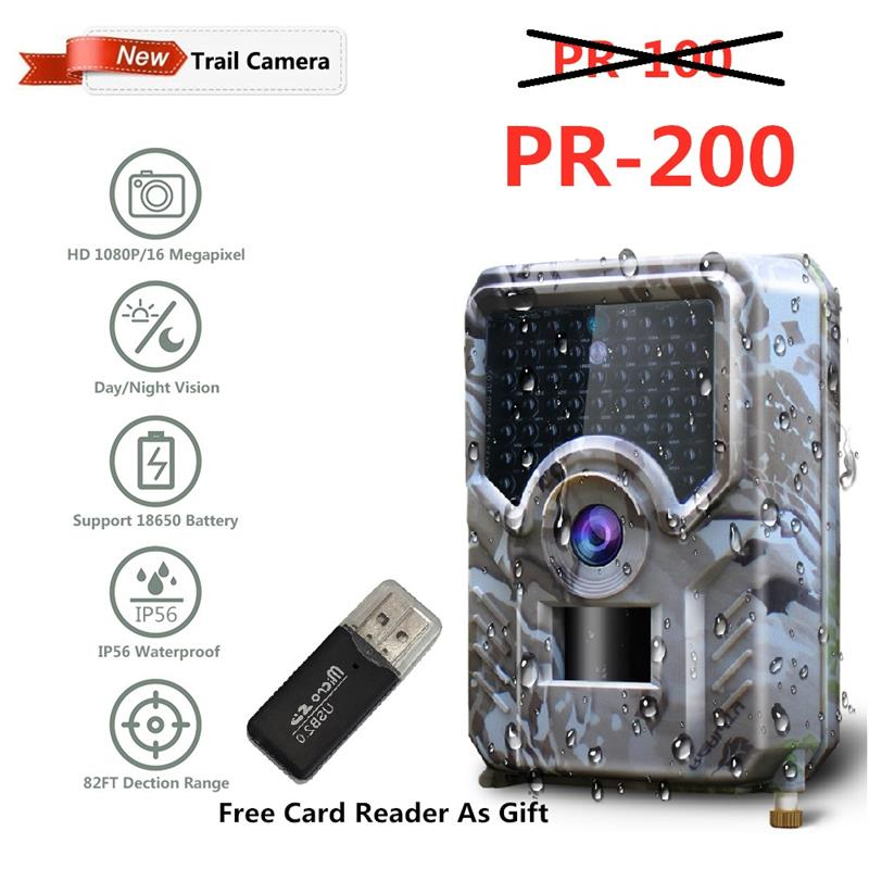 Suntekcam PR-200 Trail Camera 12MP 49pcs 940nm IR LED Hunting Camera IP56 Waterproof 18650 Battery Wild Camera Night Vision