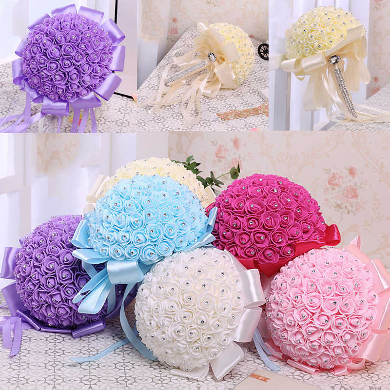 Artificial Bridal Bouquet Handmade Beauty Foam Roses Wedding Bouquet Party decoration Accessories