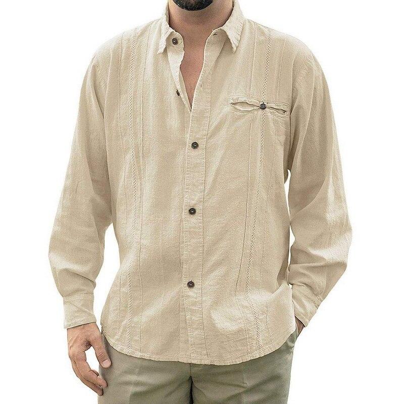 Adisputent 2020 Mens Loose Fit Cuban Camp Guayabera Linen Long Sleeve Soild Shirts Casual Button Down Beach Breathable Shirts