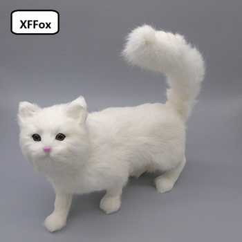 big real life white cat model plastic&furs beautiful standing cat doll gift about 32x25cm xf1399