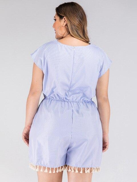 2020 summer plus size jumpsuit for women large sleeveless loose casual lace stripe V neck short jumpsuits blue 4XL 5XL 6XL 7XL 4