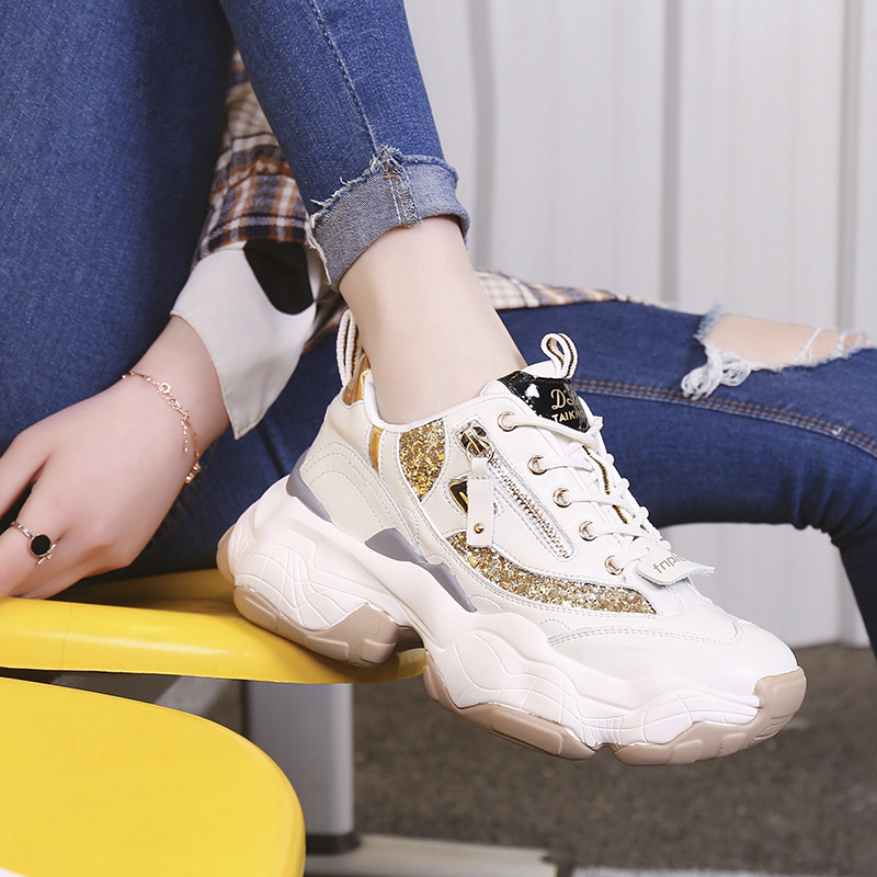 Sneakers Womens Casual 2019 Autumn New Zipper Glitter Gold Platform Women's Sports Shoes Chunky Casual Tennis Shoes Ladies