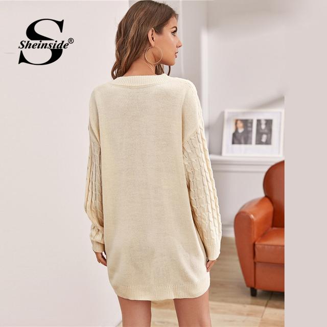Sheinside Beige Drop Shoulder Sweater Dress Without Belt Women
