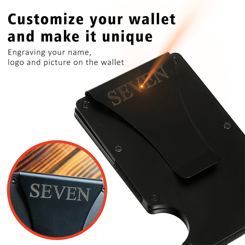 2020 Customized Credit Card Holder RFID Blocking Metal Men Wallet Purse Male Business Cardholder Carteira Masculina Billetera 6