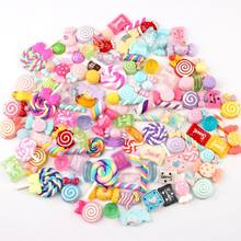30/50/100Pcs Diverse Resin Charms Gemengde Candy Sweets Drop Olie Plaksteen Cabochon Kralen Voor Diy Scrapbooking phonecase Ambachten(China)