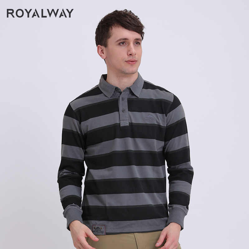 ROYALWAY Camping Hiking Men Tees Polos Quick Dry Breathable Outdoor T-Shirts Sports Golf Polo Long Sleeves RTM1430D