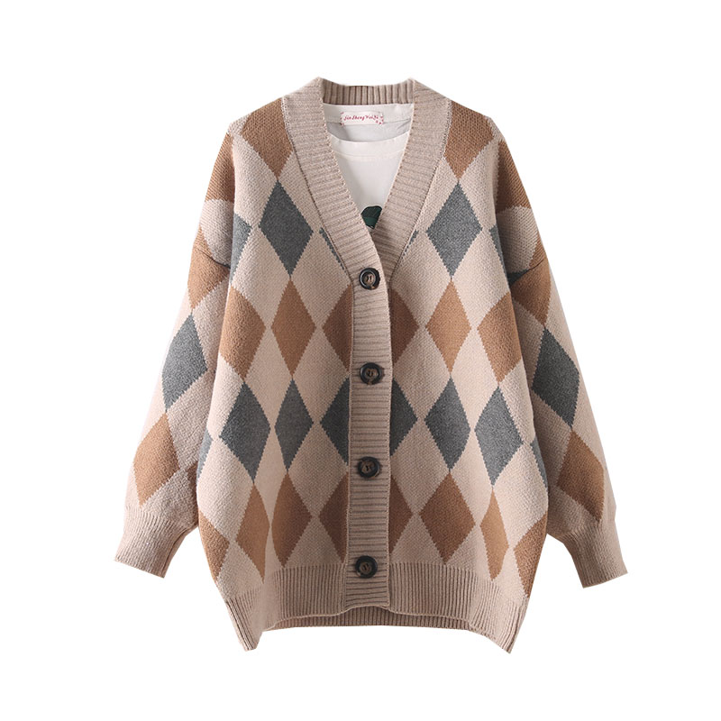 H.SA 2019 Women Winter Sweater And Cardigans V Neck Button Up Warm Thick Knit Jacket Long Argyle Jumpers Christmas Warm Coat