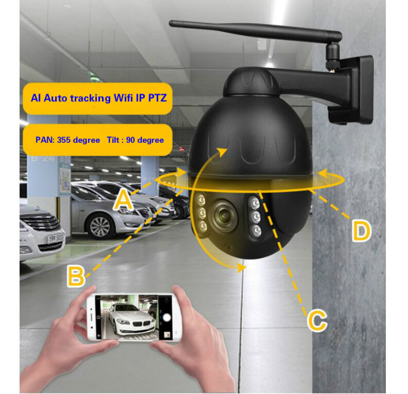 Auto Tracking 4MP Outdoor Camera 2.8-12mm 4x Auto Zoom Human Tracking Wifi Ip Ptz Dome Cameras 2mp Ir Vision Wireless Cameras