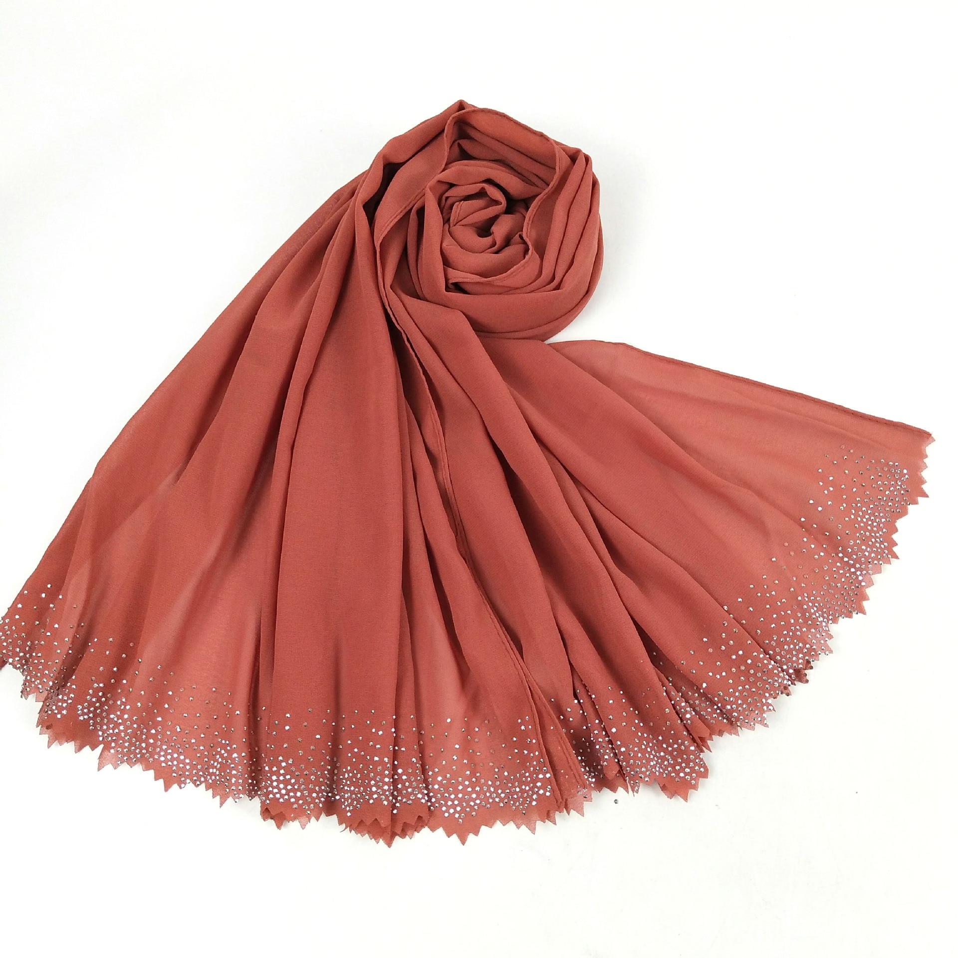 Image 5 - New Hollow Hot Diamond Pearl Chiffon Headscarf Muslim Hijab Long Towel Malaysian ShawlIslamic Clothing