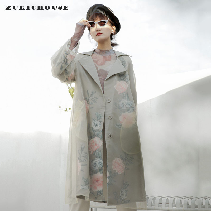 ZURICHOUSE Spring Long Coat Woman High Quality Organza Floral Windbreaker Coat 2020 Elegant Temperament Loose Trench Women