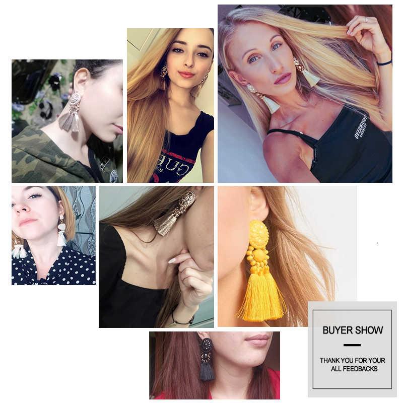 JOUVAL In Oro di Alta Qualità/Verde/Nero Multi Colori Orecchini A Pendaglio Boemia Fatti A Mano di Perline di Plastica Con Nappa Orecchini Per le donne