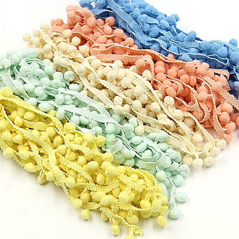 Pom Pom Trim Ball Sewing Accessories Pompom Ball Lace Trim Tassel Fringe Ribbon Kintted Fabric DIY Craft Apparel Accessories