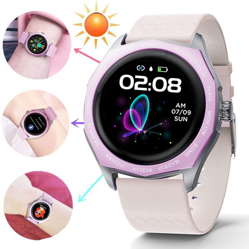 LIGE 2020 nouveau Bluetooth montre intelligente femmes plein écran alliage Smartwatch moniteur de fréquence cardiaque couleur changeante sangle Sport dame montre