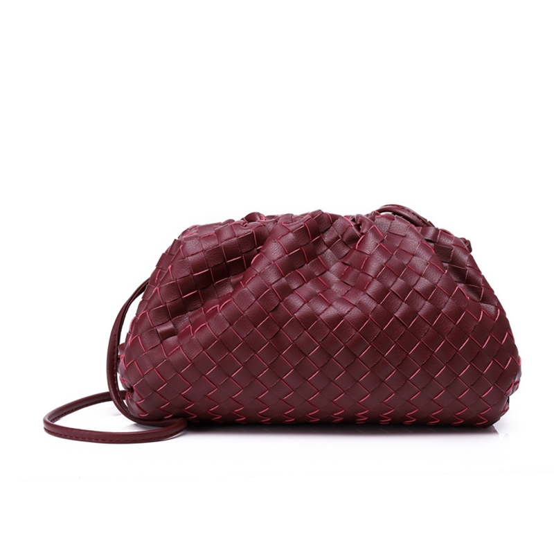 Bolso de mujer de lujo que hace punto bolso de sobre tejido de cuero auténtico diseño voluminoso de forma redondeada monederos y bolsos de mano embrague de la marca Louis - 6