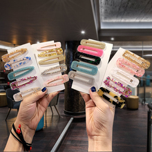2019 New Japanese Style Hair Card Acrylic Candy Color Hair Clip Simple Acetate Hairgrips Leopard Duckbill Headdress Female women girls japanese style side hair clip water drop shape duckbill hairgrips colored marble textured printed hair accessories